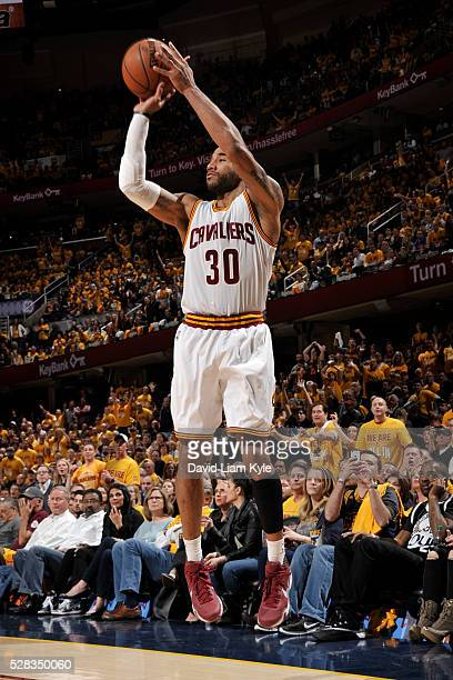Dahntay Jones of the Cleveland Cavaliers shoots against the Atlanta Hawks during Game Two of the Eastern Conference Semifinals during the 2016 NBA...