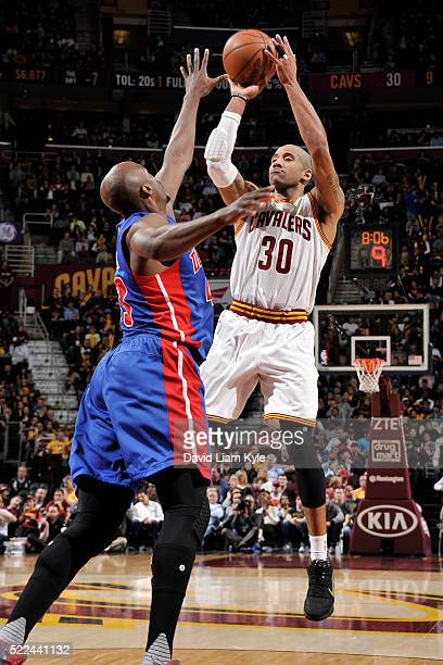 Dahntay Jones of the Cleveland Cavaliers shoots the ball against the Detroit Pistons on April 13 2016 at Quicken Loans Arena in Cleveland Ohio NOTE...