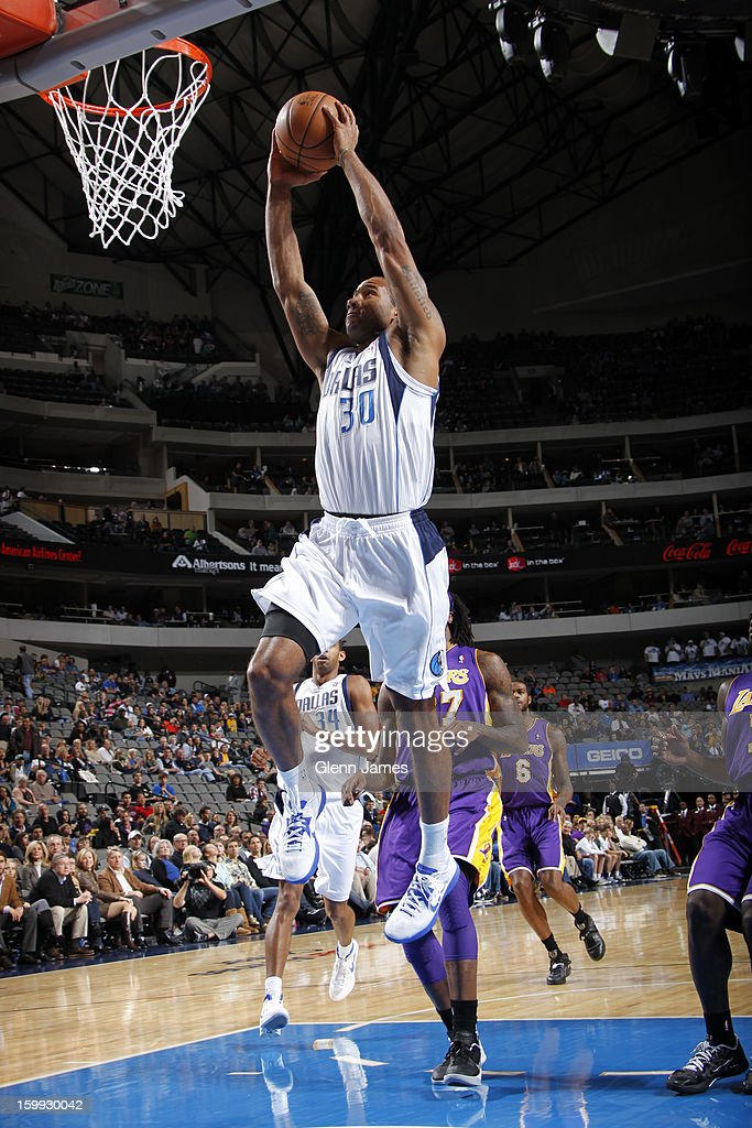 <a gi-track='captionPersonalityLinkClicked' href=/galleries/search?phrase=Dahntay+Jones&family=editorial&specificpeople=202206 ng-click='$event.stopPropagation()'>Dahntay Jones</a> #30 of the Dallas Mavericks dunks the ball against the Los Angeles Lakers on November 24, 2012 at the American Airlines Center in Dallas, Texas.
