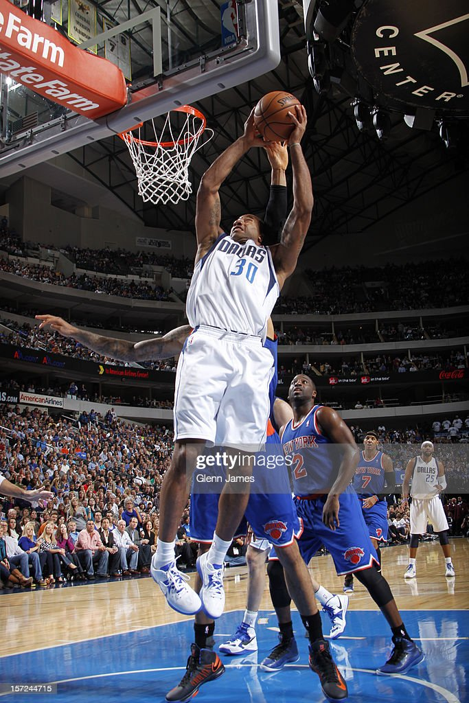 <a gi-track='captionPersonalityLinkClicked' href=/galleries/search?phrase=Dahntay+Jones&family=editorial&specificpeople=202206 ng-click='$event.stopPropagation()'>Dahntay Jones</a> #30 of the Dallas Mavericks dunks the ball against the New York Knicks on November 21, 2012 at the American Airlines Center in Dallas, Texas.
