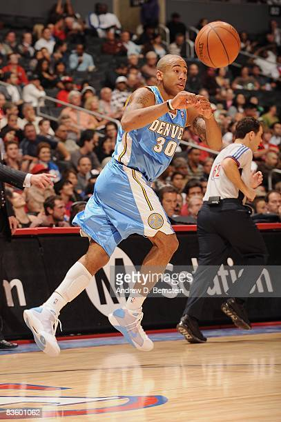 Dahntay Jones of the Denver Nuggets passes the ball during the game against the Los Angeles Clippers on October 31 2008 at Staples Center in Los...
