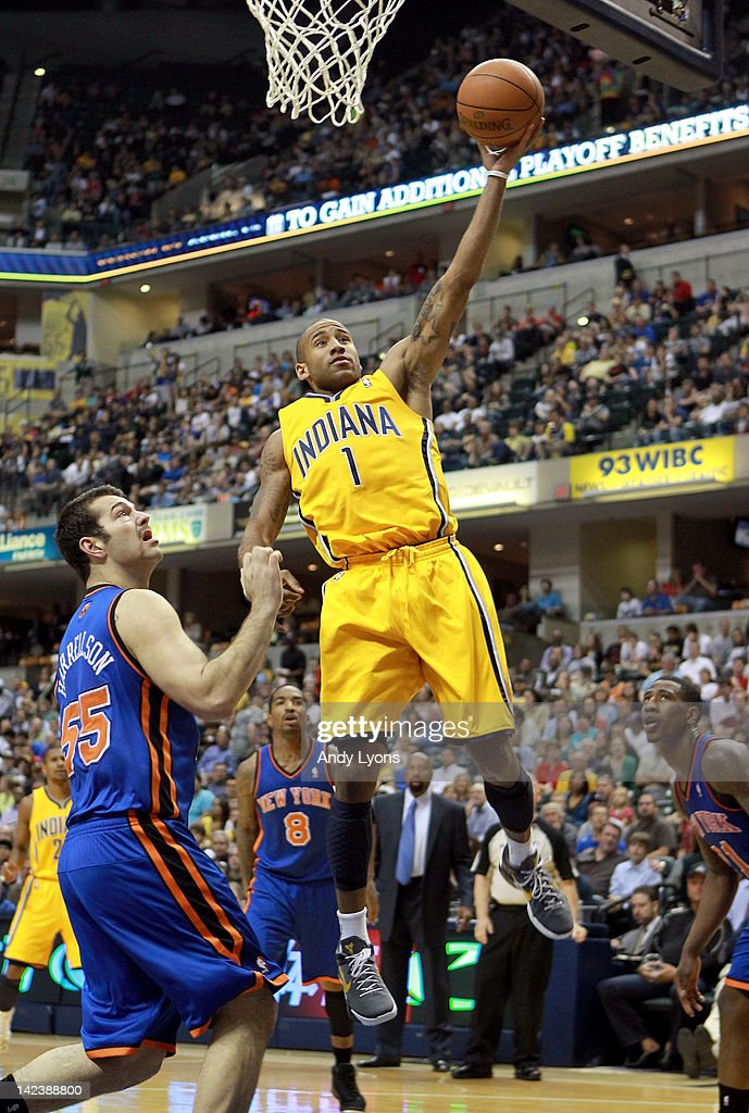 <a gi-track='captionPersonalityLinkClicked' href=/galleries/search?phrase=Dahntay+Jones&family=editorial&specificpeople=202206 ng-click='$event.stopPropagation()'>Dahntay Jones</a> #1 of the Indiana Pacers shoots the ball during the NBA game against the New York Knicks at Bankers Life Fieldhouse on April 3, 2012 in Indianapolis, Indiana.