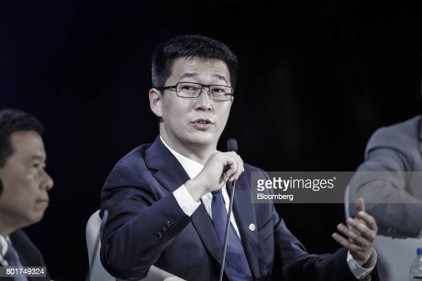 Dai Wei chief executive officer of Ofo Inc speaks during a session at the World Economic Forum Annual Meeting of the New Champions in Dalian China on...