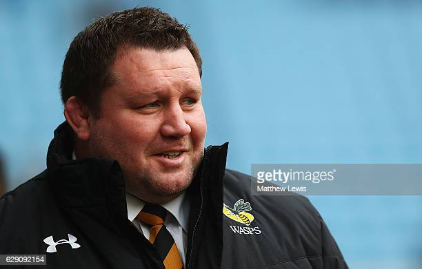 Dai Young Director of Rugby of Wasps looks on ahead of the European Rugby Champions Cup match between Wasps and Connacht Rugby at the Ricoh Arena on...
