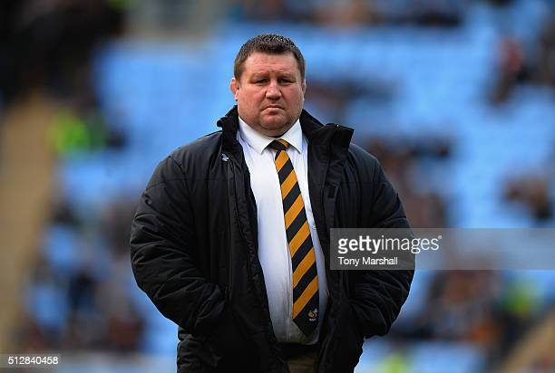 Dai Young Head Coach of Wasps during the Aviva Premiership match between Wasps and Harlequins at The Ricoh Arena on February 28 2016 in Covenrty...