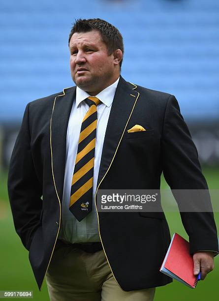 Dai Young of Wasps looks on prior to the Aviva Premiership match between Wasps and Exeter Chiefs at Ricoh Arena on September 4 2016 in Coventry...