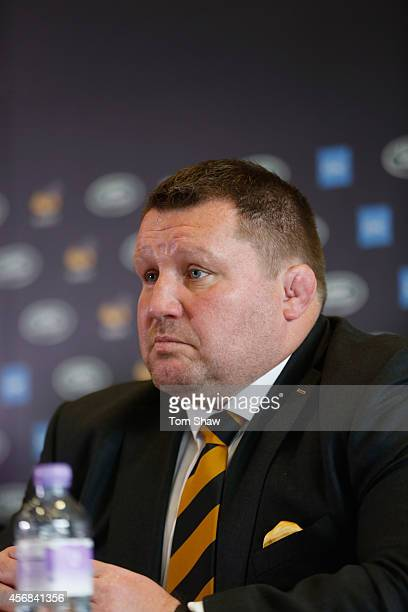 Dai Young of Wasps talks to the press during the announcement of a new club sponsor Land Rover and a move to the Ricoh Arena in Coventry at the Ricoh...