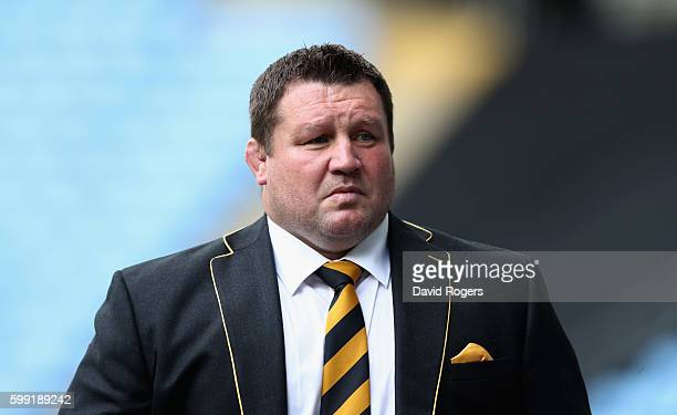 Dai Young the Wasps director of rugby looks on during the Aviva Premiership match between Wasps and Exeter Chiefs at the Ricoh Arena on September 4...