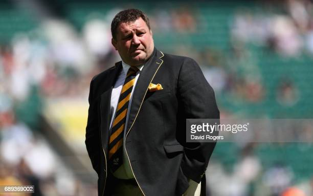 Dai Young the Wasps director of rugby looks on during the Aviva Premiership match between Wasps and Exeter Chiefs at Twickenham Stadium on May 27...