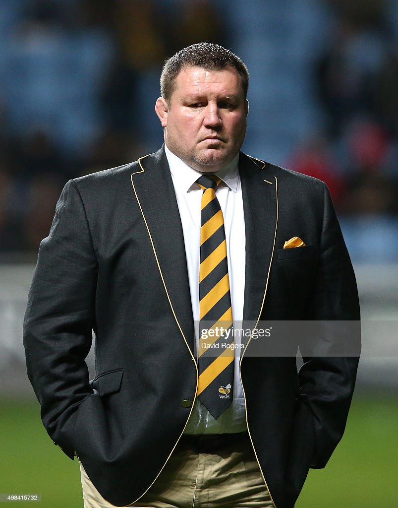 Dai Young the Wasps director of rugby looks on during the European Rugby Champions Cup match between Wasps and Toulon at the Ricoh Arena on November...