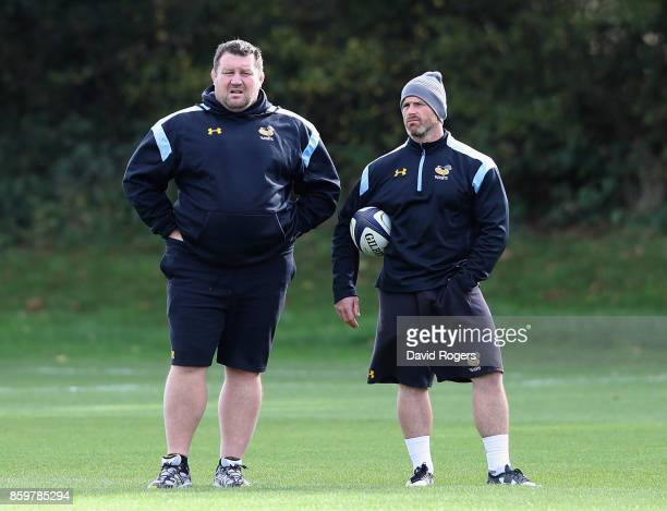 Dai Young the Wasps director of rugby looks on with forwards coach Andy Titterrell during the Wasps training session held at their training venue on...