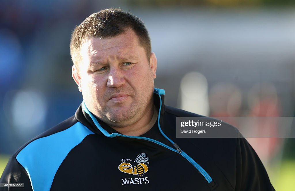 Dai Young the Wasps head coach looks on during the European Rugby Champions Cup match between Leinster and Wasps at the RDS Arena on October 19 2014...
