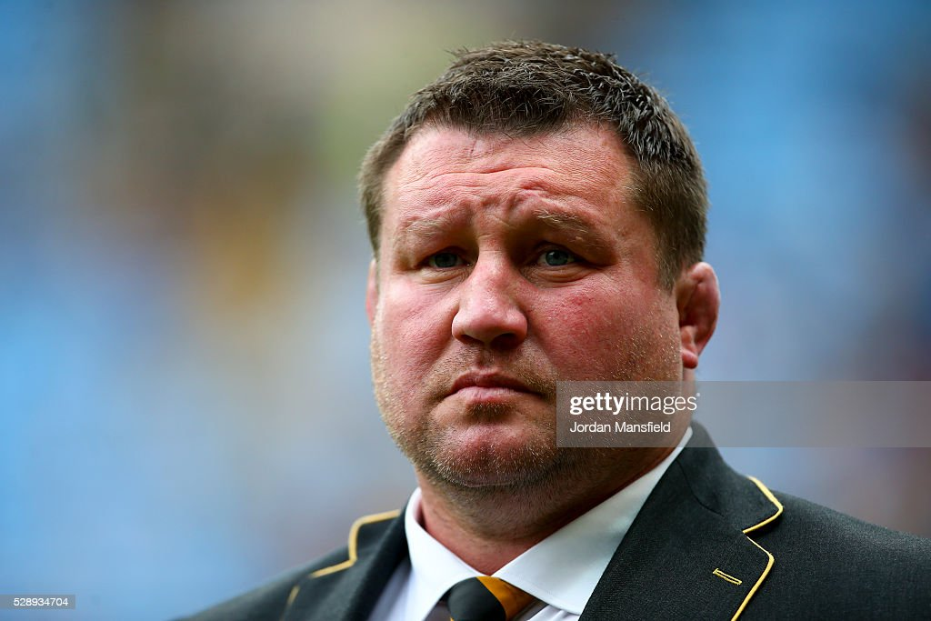 Dai Young Wasps' Director of Rugby looks on after the Aviva Premiership match between Wasps and London Irish at the Ricoh Arena on May 07 2016 in...