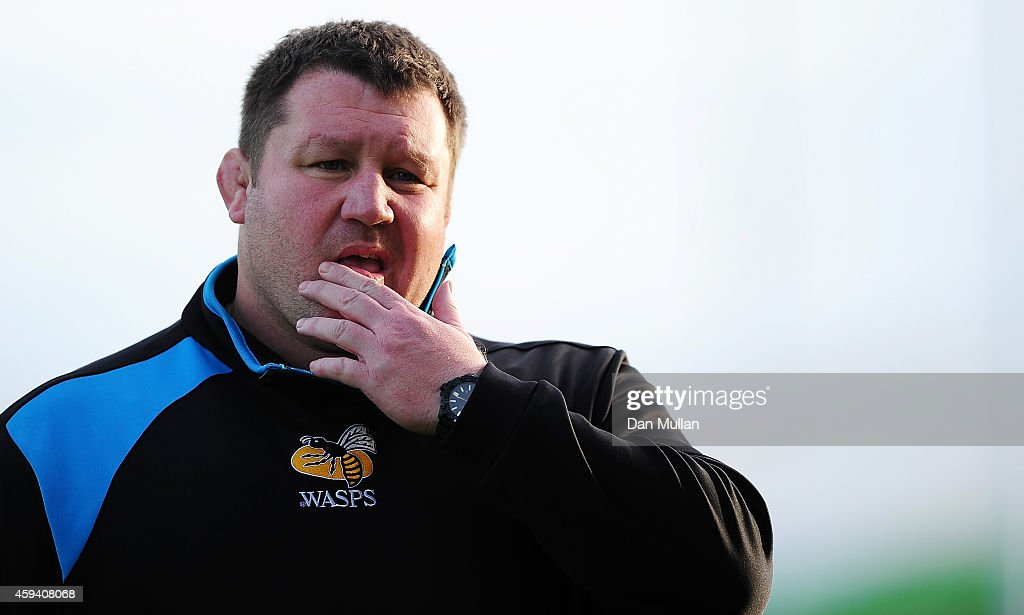 Dai Young Wasps' Director of Rugby looks on during the Aviva Premiership match between Exeter Chiefs and Wasps at Sandy Park on November 22 2014 in...
