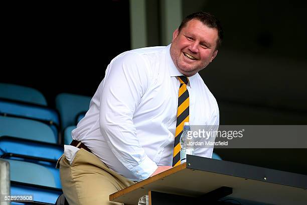 Dai Young Wasps' Director of Rugby looks on prior to the Aviva Premiership match between Wasps and London Irish at the Ricoh Arena on May 07 2016 in...