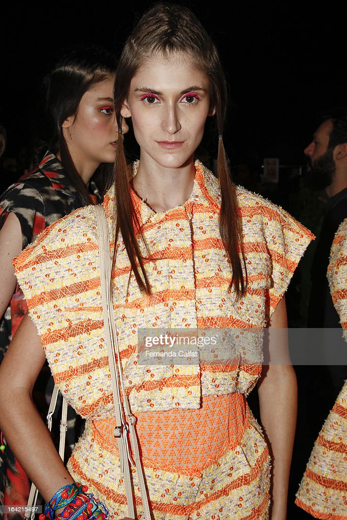 Daiane Conterato backstage at the Triton show during Sao Paulo Fashion Week Summer 2013/2014 on March 20, 2013 in Sao Paulo, Brazil.