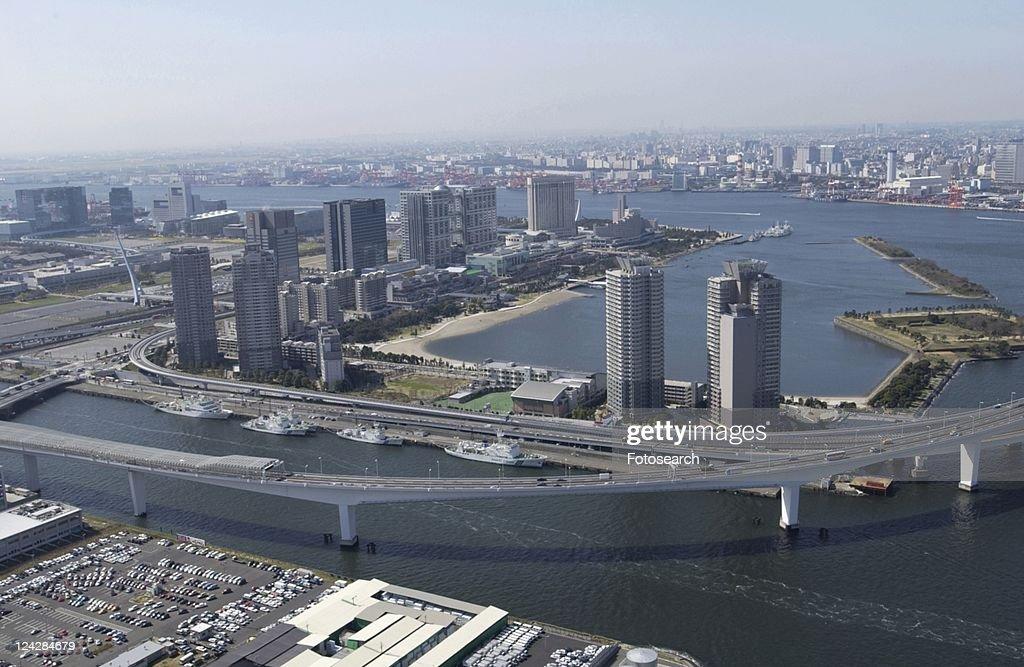 Daiba Area, Aerial View, Pan Focus : Stock Photo