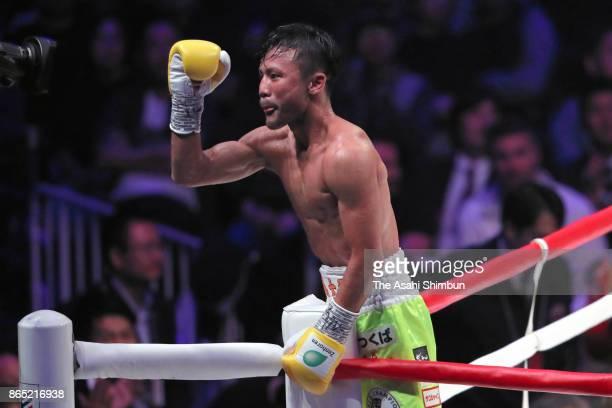 Daigo Higa of Japan celebrates retaining his title after beating Thomas Masson of France in the WBC Flyweight Title Bout at Ryogoku Kokugikan on...