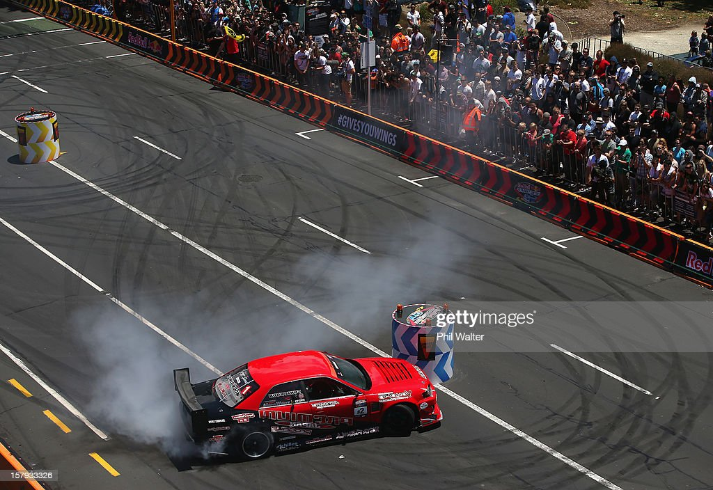 Daigo Saito of Japan competes in the Red Bull Drift Shifters along Victoria Street on December 8, 2012 in Auckland, New Zealand.