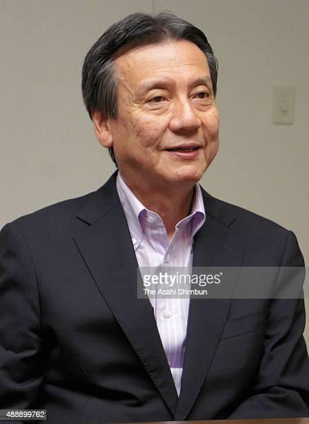 Daihatsu Motor Co President Masanori Mitsui speaks during the Asahi Shimbun interview on September 9 2015 in Tokyo Japan