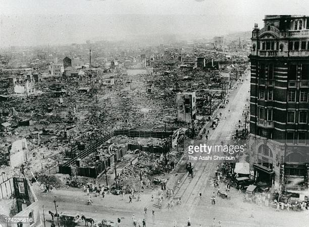 Daiichi Sogo Building stands while other buildings are destroyed after the Great Kanto Earthquake at Nihonbashi area in September 1923 in Tokyo Japan...