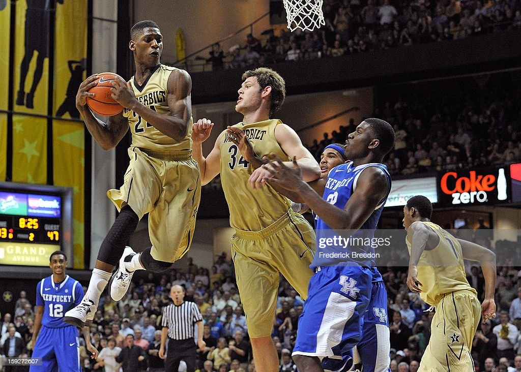 Dai-Jon Parker #24 of the Vanderbilt Commodores jumps for a rebound against the Kentucky Wildcats at Memorial Gym on January 10, 2013 in Nashville, Tennessee.