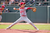 Daiki Fukuyama of team Japan from Tokyo Kitasuna Little League pitches during the Little League World Series Championship Game against the...