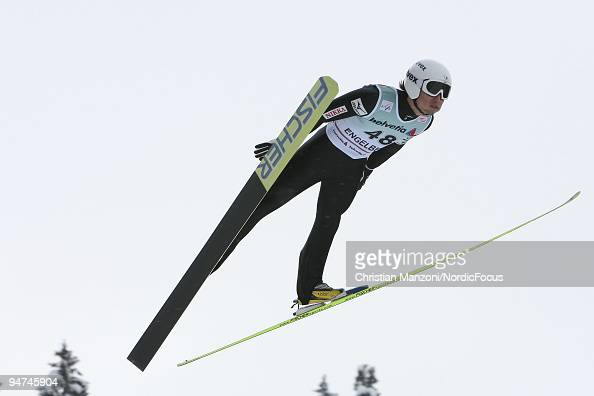 Daiki Ito of Japan was man of the day during the Individual Large Hill competition of the FIS Ski Jumping World Cup on December 18 2009 in Engelberg...