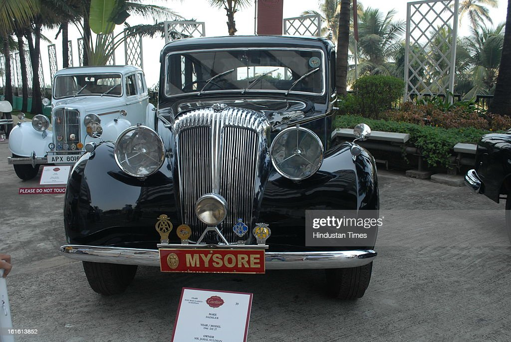 Dailmer 1946 DE 27 Vintage car taking part in Third Cartier Travel With Style Concours D'Elegance Vintage car show at 2013 Taj Lands End on February 10, 2013 in Mumbai, India.