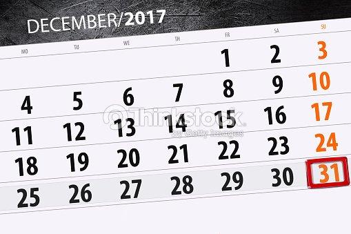 Calendario Diario.Calendario Diario Para 31 De Diciembre Foto De Stock