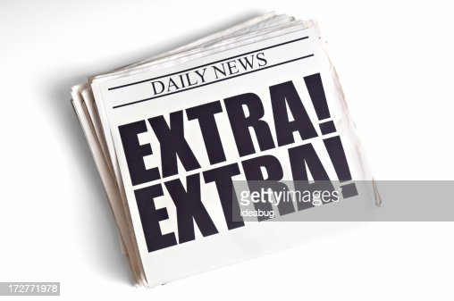 Daily Extra! Newspaper Headline on White Background