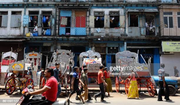 Daily life and Historical Neighborhood in Mumbai on March 15 2014 in Mumbai India