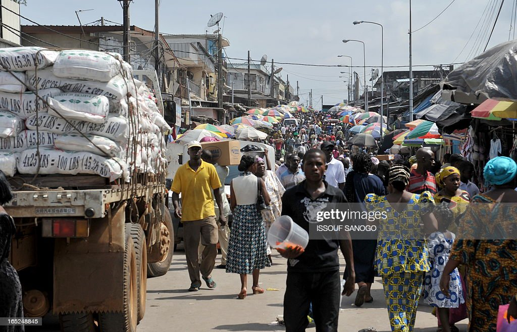 Daily life at a market in Libreville on June 13 2009 Gabonese President Omar Bongo Ondimba died in a clinic in Barcelona on June 8 and his body is...