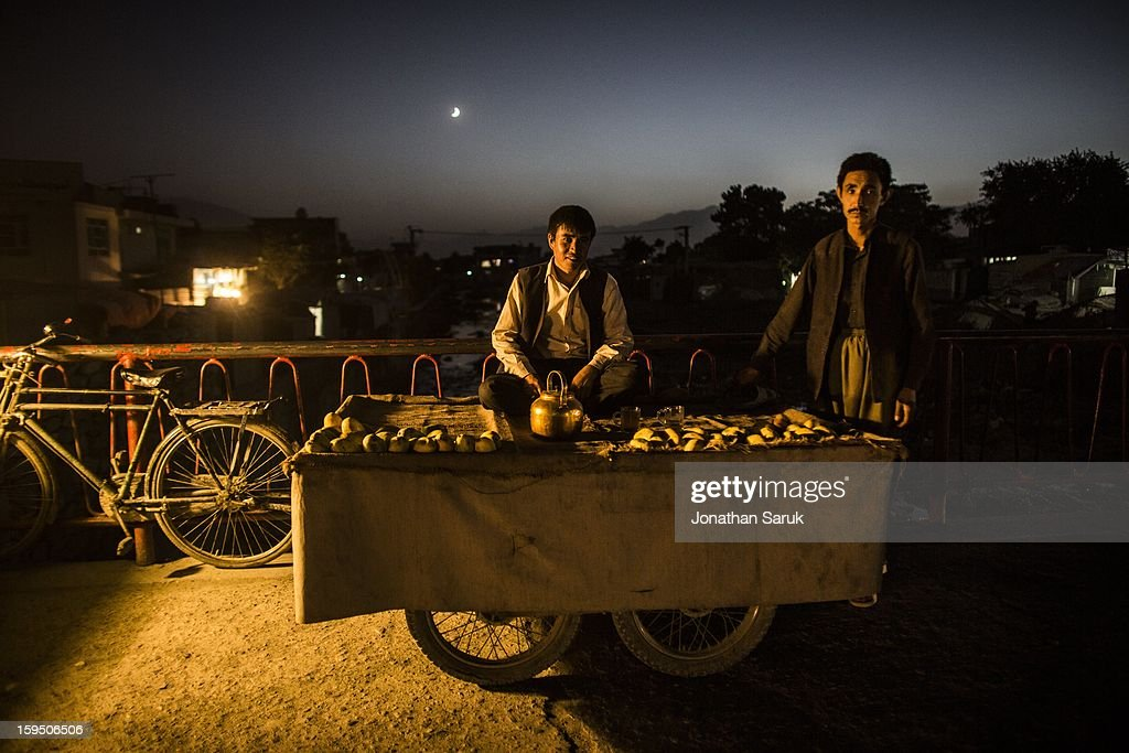 Daily life at night in the Kart-e-Se neighborhood of Kabul July 22, 2012 in Kabul, Afghanistan.