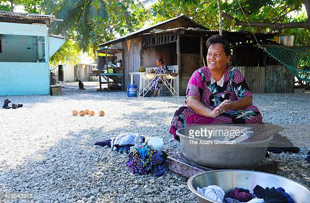 Daily life at the Mejit Island where most of Rongelap atoll residents had relocated on January 21 2014 in Mejit Island Marshall Islands The US...