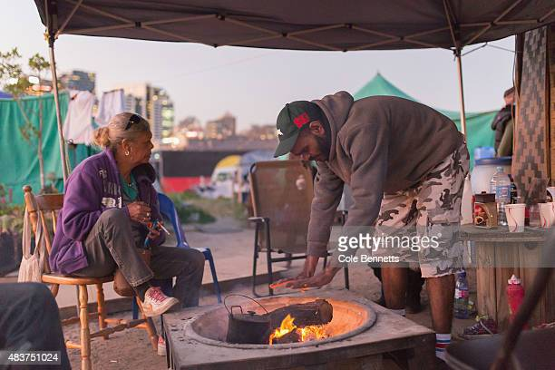 Daily life at the tent embassy on August 9 2015 in Sydney Australia The tent embassy was established in March 2014 in protest of the Aboriginal...