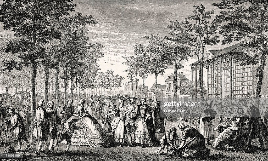 daily life in french history a fashionable gathering in th a fashionable gathering in 18th century taking a stroll walking promenading on the