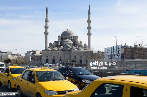 Daily life in Istanbul View of the New Mosque on October 14 2014 in Istanbul Turkey