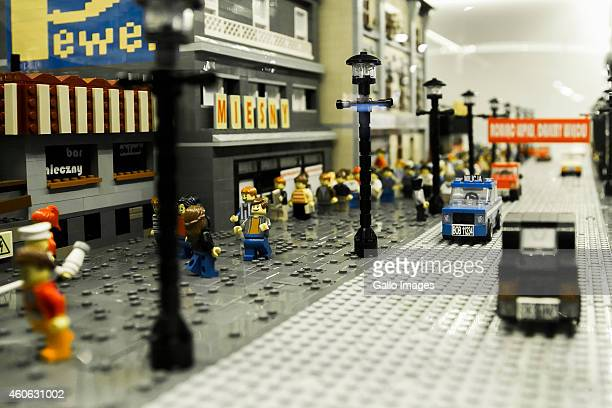 WARSAW POLAND DECEMBER 12 Daily life in People's Republic of Poland made of LEGO at Great Exhibition of LEGO Bricks Constructions on December 12 2014...