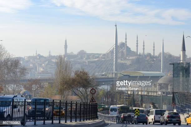 Daily life in the city of Istanbul View of the New Mosque on October 14 2014 in Istanbul Turkey