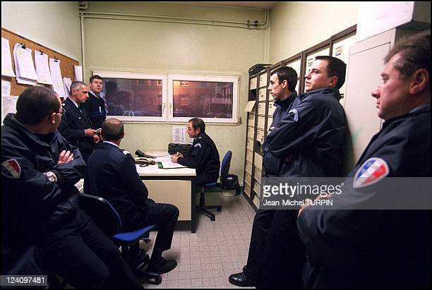 Daily life of a French police station In Amiens France In November 2001 Morning briefing