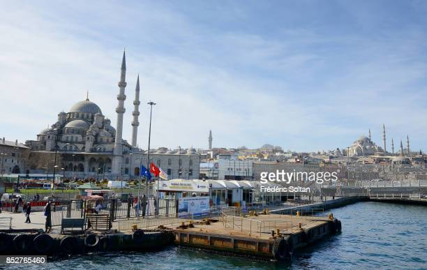 Daily life of Istanbul and view on the New Mosque on October 14 2014 in Istanbul Turkey