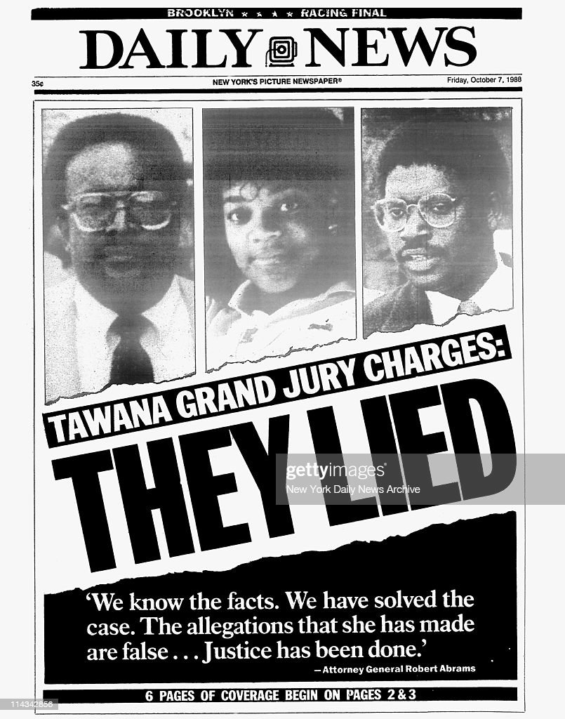 Daily News front page dated October 7, 1988 LIED 'We know the facts. We have solved the case. The allegations that she had made are false...Justice has been done.' Attorney General Robert Abrams C. Vernon Mason, Tawana Brawley, Alton Maddox Jr.
