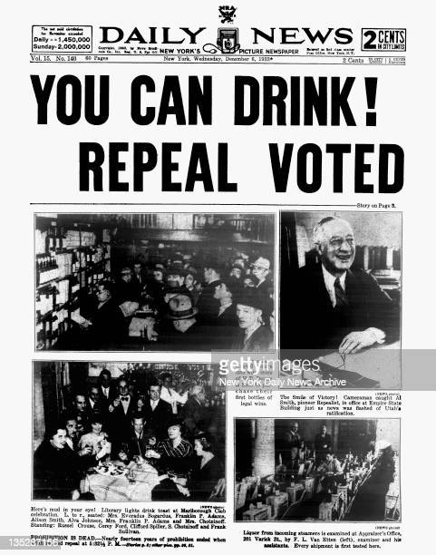Daily News front page December 6 Headline YOU CAN DRINK REPEAL VOTED Crowd pours into wine store of HT Dewey Sons to purchase their first bottles of...