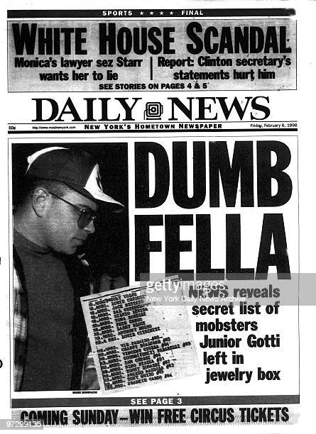 Daily News Front page Feb 6 Headline DUMB FELLA News revels secret list of mobsters Junior Gotti left in jewelry box John Gotti Jr
