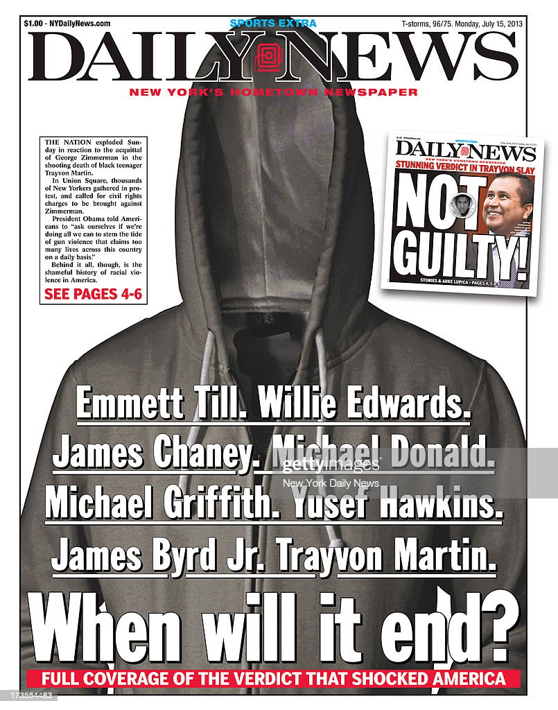 Daily News front page July 15, 2013, Headline: Trayvon Juror's Shocking revelations - INSULT TO INJURY - Trayvon Martin and George Zimmerman