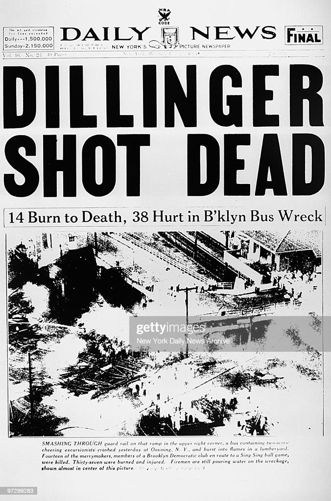 Daily News Front page, July 23, 1934 Headline: DILLINGER