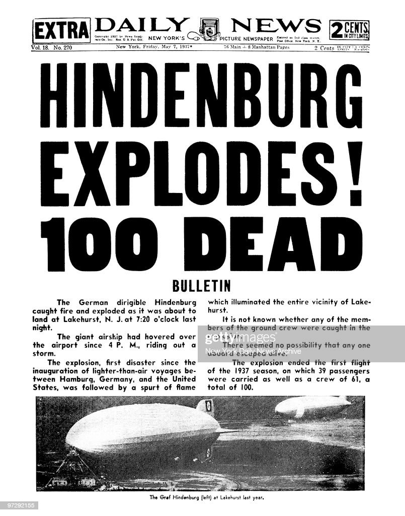 Daily News front page May 7, 1937 Headline: HINDENBURG
