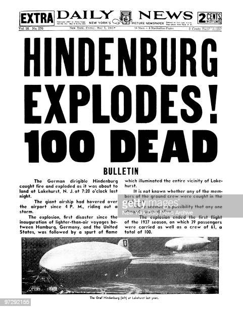 Daily News front page May 7 1937 Headline HINDENBURG EXPLODES 100 DEAD