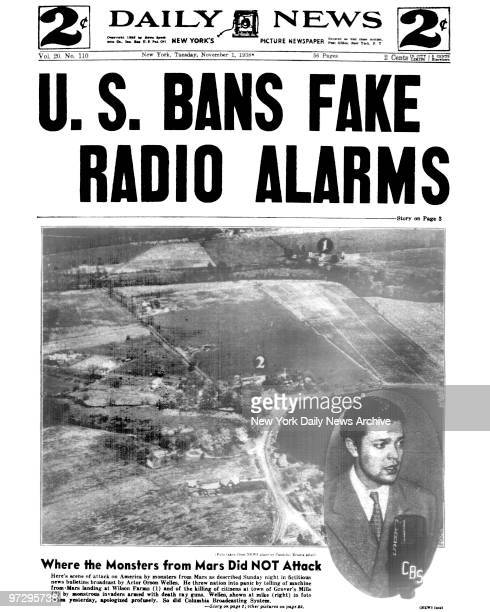 Daily News Front page November 1 Headline US BANS FAKE RADIO ALARMS Orson Welles radio broadcast of 'The War of the Worlds' which caused many...